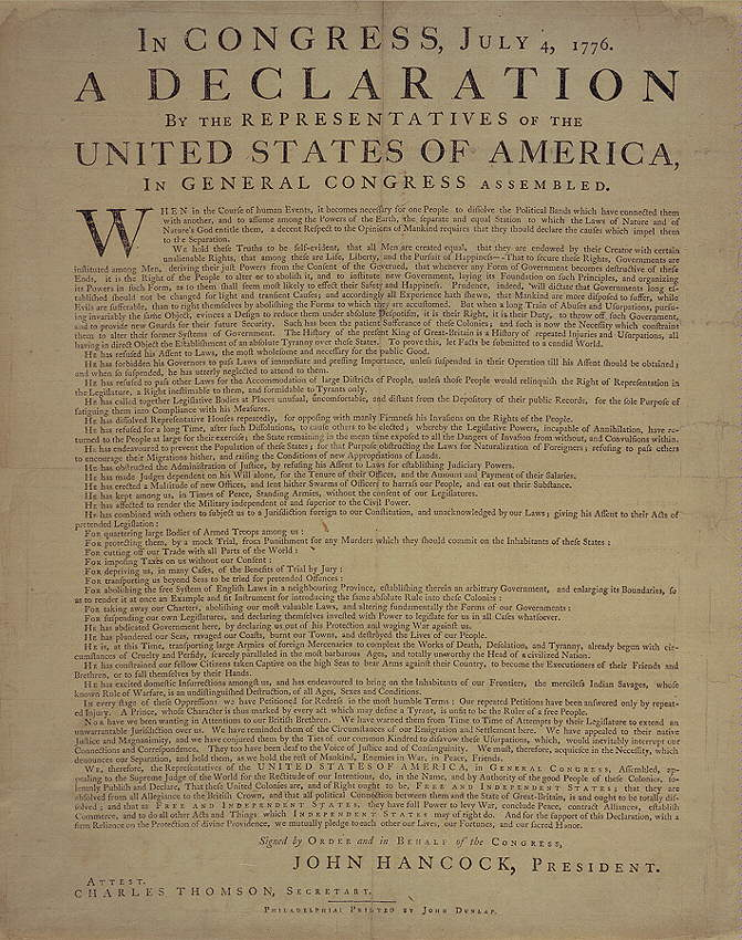 George Washingtons Copy Of The Declaration Of Independence The Declaration Of Independence