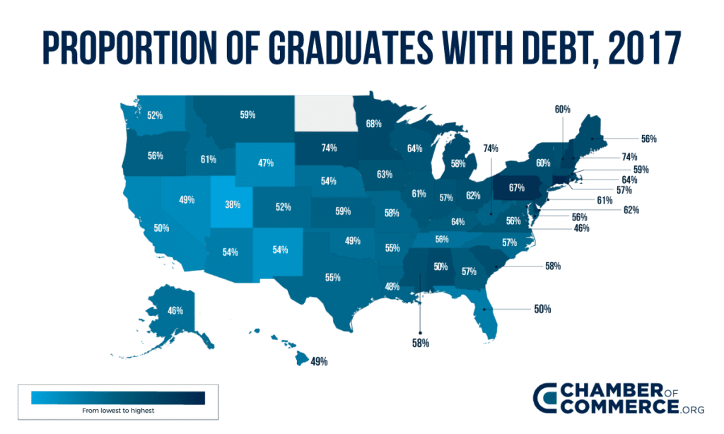 Proportion of Graduates with Debt heat map
