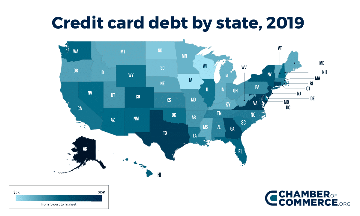 Heatmap - Credit card debt 2019