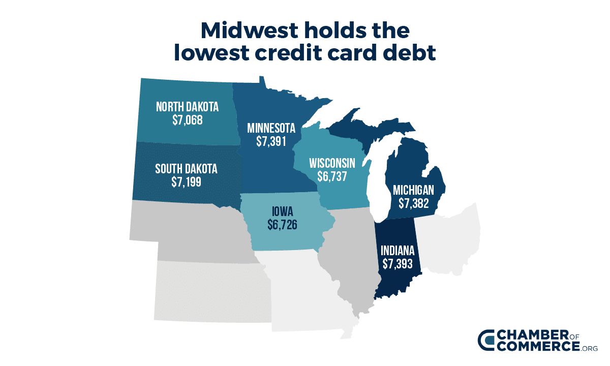 Heatmap-midwest credit card debt